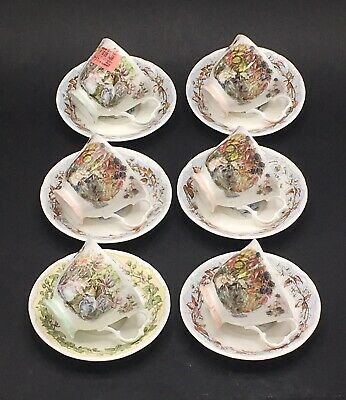 Royal Doulton Brambly Hedge Set Of Six MIS-MATCHED Seasons Tea Cups & Saucers • 79.99£
