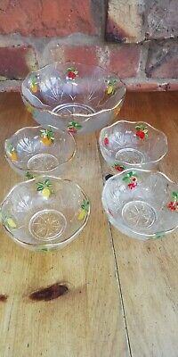 Vintage Glass Fruit Bowl And Dishes X 4 Printed With Fruit • 8.99£
