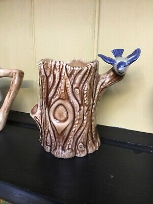 Wade Porcelain Blue Bird On A Brown Tree Trunk Posy Vase • 2.30£