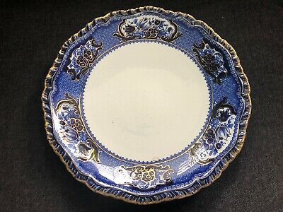 Vintage STONE CHINA Victoria Pattern Plate Booths England FLOW BLUE TRANSFERWARE • 22.08£