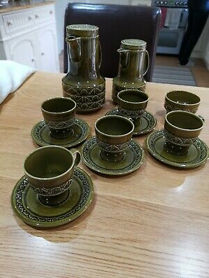 Vintage Beswick Pottery Retro Zorba Design 13 Piece Coffee Set In Green • 22£