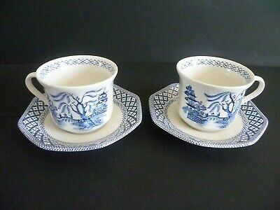 J & G Meakin Royal Staffordshire Ironstone Willow Cup & Saucer Set X2  • 8£