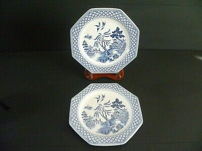 J & G Meakin Royal Staffordshire Ironstone Willow Octagonal Salad Plates X2 • 6£