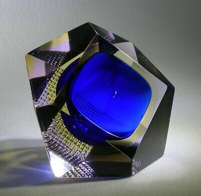Murano Sommerso Faceted Glass Bowl • 49.99£