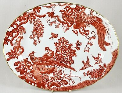 Royal Crown Derby China Red Aves 34.5cm 13½  Oval Serving Platter 1st Perfect • 45£