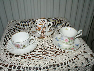 3 Small Cups And Saucers 2 Floral 1 The Cat And The Fiddle Different Backstamps  • 12.99£