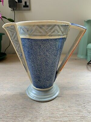 Myott & Sons Hand Painted Art Deco Blue And Orange Conical Jug/vase C1930 • 16£