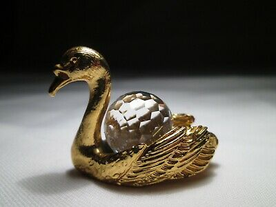 Vintage Miniature Crystal And Gilt Metal Swan. 4cm Long Approx. • 4£