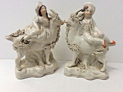 Rare Pair Of Goat With Children Staffordshire Figures _ Read Why They Are Rare! • 95£