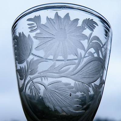 AN 18th CENTURY WHEEL ENGRAVED WINE GLASS OF JACOBITE INTEREST • 170£