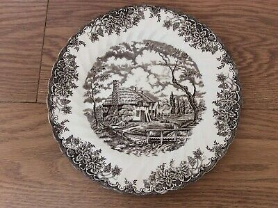 "Vintage Myott Brown "" The Brook "" Country Scene Plate • 3£"