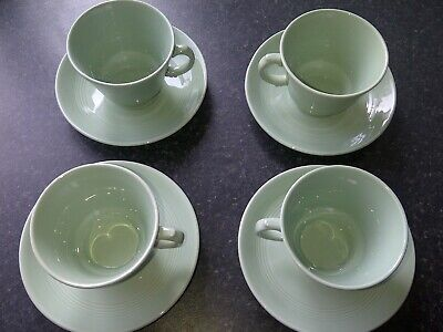 Vintage Woods & Sons Classic Green Beryl Pattern 4x Tea Cups & Saucers • 5£