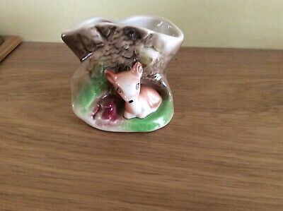 Withernsea Eastgate. Pottery Fawn At Base Of Tree Trunk Ornament • 1.75£