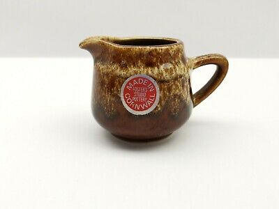 Fosters Pottery Cornwall Cornish Brown Honeycomb Milk Cream Jug 3 Inches Tall • 10£