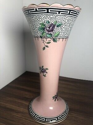 1920's Coronaware Carlyle Vase Hancocks & Sons Pale Pink With Purple Roses • 18£