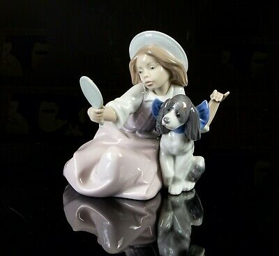 Lladro -who's The Fairest- Figure Model 5468 Girl Child Hat Puppy Dog Mirror • 44.99£