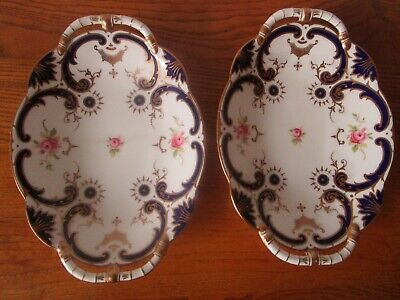Antique Pair Of Coalport Swirl & Rose Oval Serving Dishes Pattern No 6427 • 20£