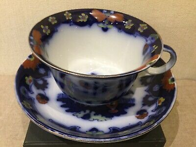 Antique Royal Staffordshire Flow Blue 'Pekin' Large Teacup & Saucer • 10.75£