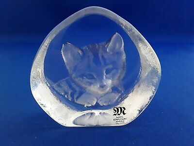Mats Jonasson Lead Crystal Tabby Cat / Kitten Paperweight Lable & Signed • 18£