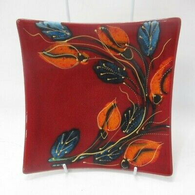 Collectable Anita Harris Studio Pottery Plate Art - Hand Signed - Red Floral • 24.99£