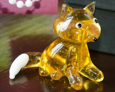 Miniature Glass Animal, Handmade - Fox 1.75  X 2  Boxed Will Combine Postage • 3£