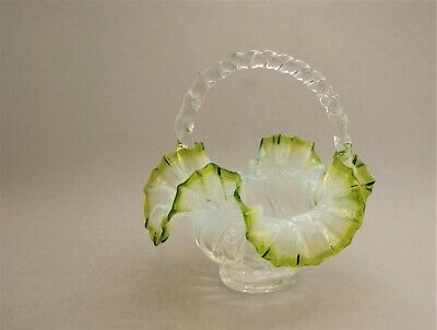Antique Fenton Art Glass Basket Opalescent With Emerald Green Edge Clear Handle • 30.90£