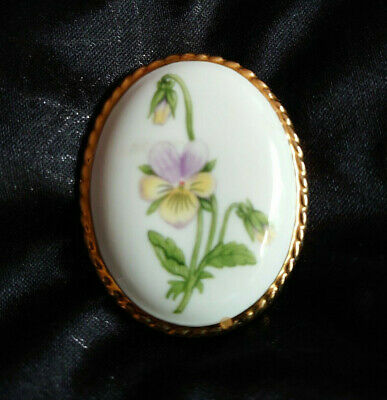 Vintage Aynsley Fine Bone China Oval Pansy Floral Brooch • 3.99£