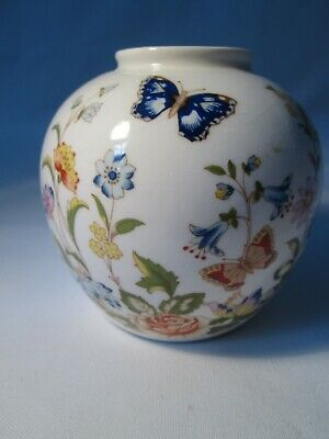 Vintage Aynsley Cottage Garden Bone China Round Vase • 3£