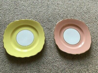 2 Vintage Bone China Colclough Cake Side Plates, Pink And Yellow  • 8£