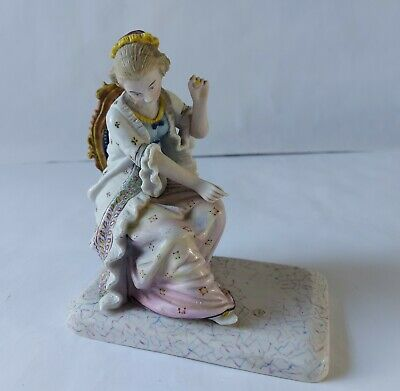 Vintage Continental Porcelain Figurine Of 18th Century Lady Sitting On Chair  • 17.99£