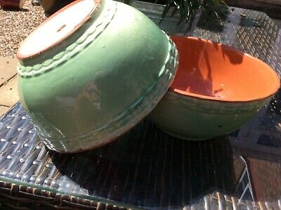 """Vintage French Pottery Terracotta 2 X Green Bowls """"154"""" • 7.99£"""