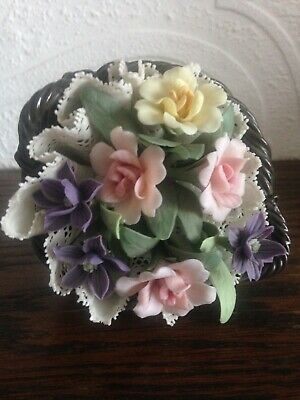 Lladro Caprichos Small Oval Brown Basket Of Flowers 1316 Rare • 39£