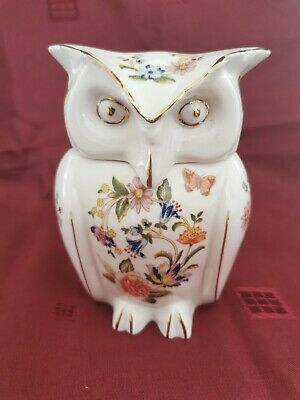 Aynsley Fine Bone China,Owl Trinket Box Figurine, Cottage Garden Design,England. • 0.99£