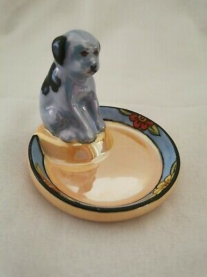 Vintage Collectable Noritake Pottery Japanese Dish With Blue Spaniel Dog On • 0.99£