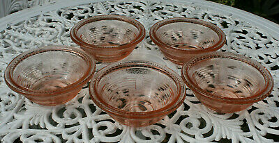 Vintage 5 Pink / Salmon Pressed Glass DESSERT Trifle BOWLS / CANDY DISHES • 6.99£