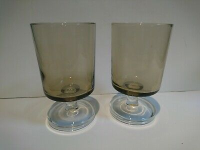 2 Mid Century Smoked Glass Wine Glasses • 4£
