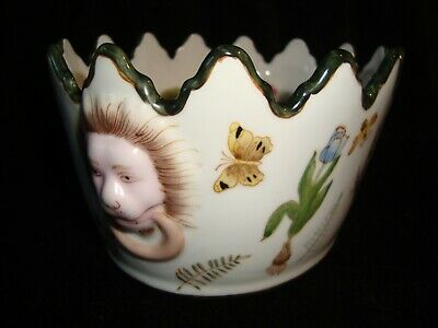 Chinese Pottery Lions Head Relief Bowl W/ Enamelled Flower & Insect Decoration • 22.99£