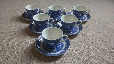 Barratts Of Staffordshire - 6 Cups And Saucers. Willow. Blue And White. Vintage. • 18.99£
