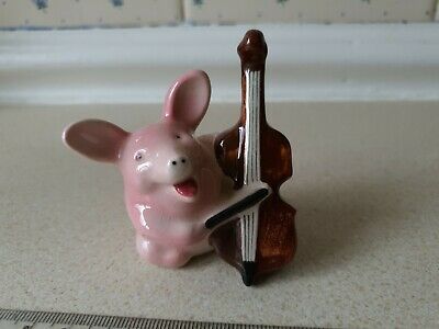 Rare Vintage Goebel Figurine Of A Pig Playing A Cello • 3£