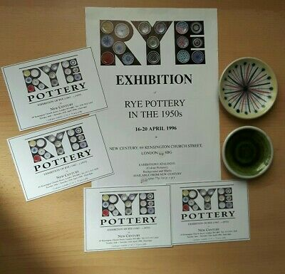 2 Vintage Rye Pottery Pin Dishes An Exhibition Poster & 4 Cards • 15£