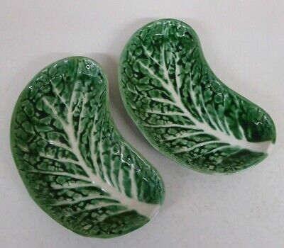 Vintage Secla Green Cabbage Leaf Pottery 2 Kidney Shaped Dishes  #1 • 12£