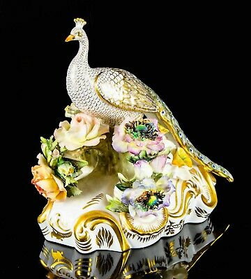 TOWNSEND & PLANT For ROYAL CROWN DERBY - BONE CHINA PEACOCK BIRD FIGURE MODEL • 199.99£