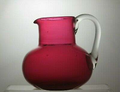 Vintage Cranberry/ruby Red Crystal Jug With Handle • 24.99£