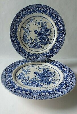 Vintage Staffordshire Ironstone Blue & White 2 X Dinner Plates Floral & Bird • 9.99£