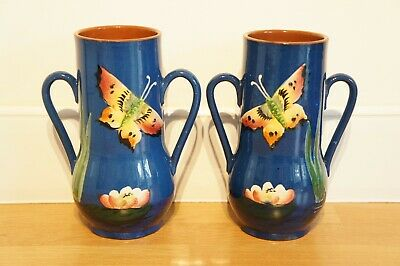 Vintage Pair Of Royal Torquay Pottery Vases, Blue, Butterfly Leaf, Devon Ware. • 30£