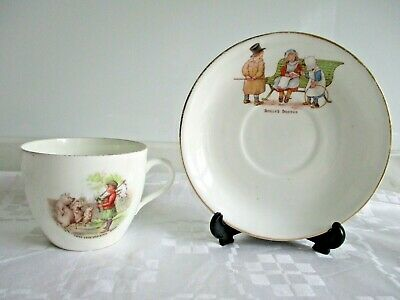 Child's Vintage China Cup & Saucer Illustrated With Nursery Rhyme Characters. • 1.99£