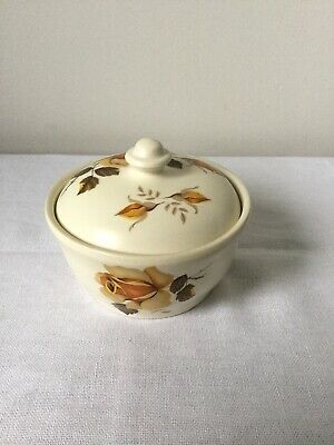 Axe Vale Pottery Sugar Bowl With Lid Floral Pattern • 20£