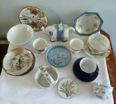 Collection Of 17 Pieces Of Oriental China - Cups, Saucers,Teapot, Bowls, Dishes • 4£