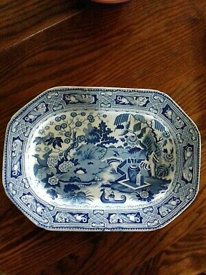 Chinese Pattern Blue And White Meat Plate • 5£