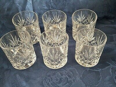 6 Quality Cut Crystal Whisky Tumblers Glasses  • 10£